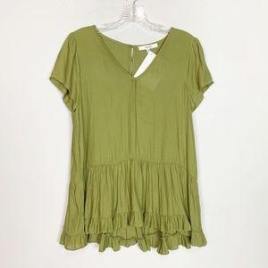 Ro & De | peplum hem short sleeve blouse green S
